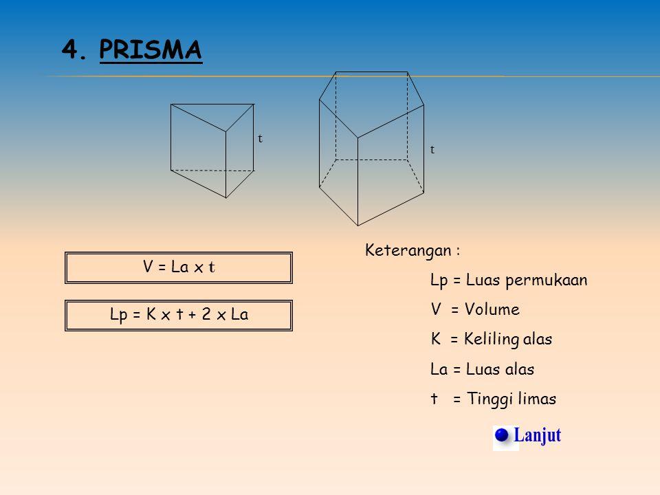 3. LIMAS A B C D T 0 Lp = La + Jumlah luas segitiga pada sisi tegak V = x La x t Keterangan : Lp : Luas permukaan V : Volume La : Luas alas t : Tinggi