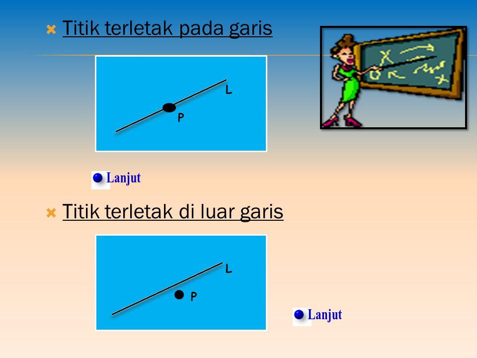  Titik terletak pada garis L P