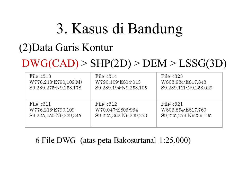 3. Kasus di Bandung (2)Data Garis Kontur DWG(CAD) > SHP(2D) > DEM > LSSG(3D) File: c313 W776,213-E790,109(M) S9,239,275-N9,253,178 File: c314 W790,109