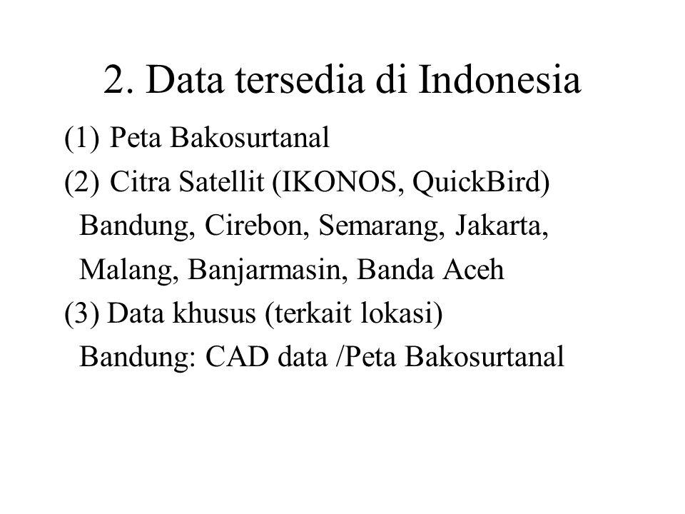 2. Data tersedia di Indonesia (1)Peta Bakosurtanal (2)Citra Satellit (IKONOS, QuickBird) Bandung, Cirebon, Semarang, Jakarta, Malang, Banjarmasin, Ban