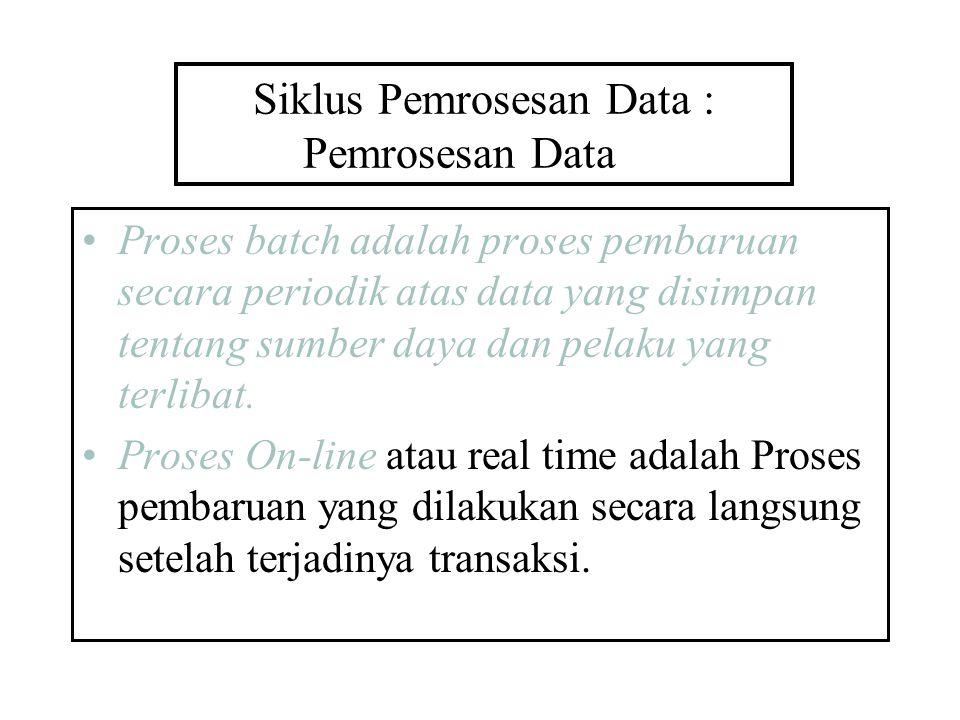 Siklus Pemrosesan Data : Pemrosesan Data Proses batch adalah proses pembaruan secara periodik atas data yang disimpan tentang sumber daya dan pelaku y