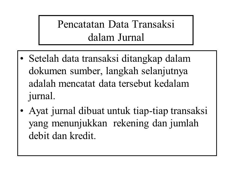 Pencatatan Data Transaksi dalam Jurnal Setelah data transaksi ditangkap dalam dokumen sumber, langkah selanjutnya adalah mencatat data tersebut kedala