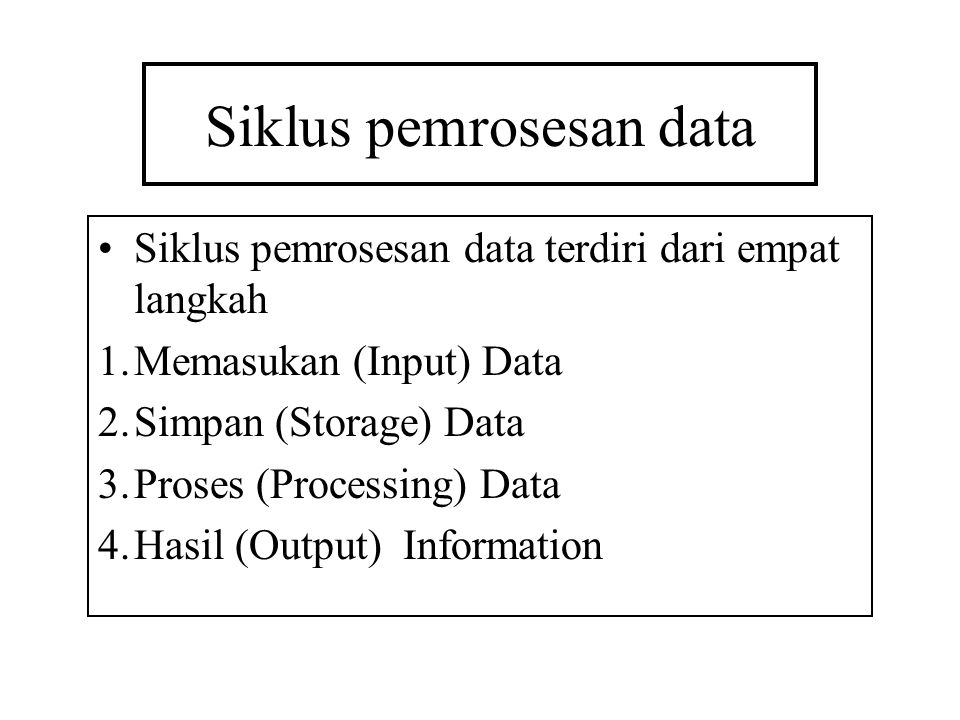 Siklus pemrosesan data Siklus pemrosesan data terdiri dari empat langkah 1.Memasukan (Input) Data 2.Simpan (Storage) Data 3.Proses (Processing) Data 4