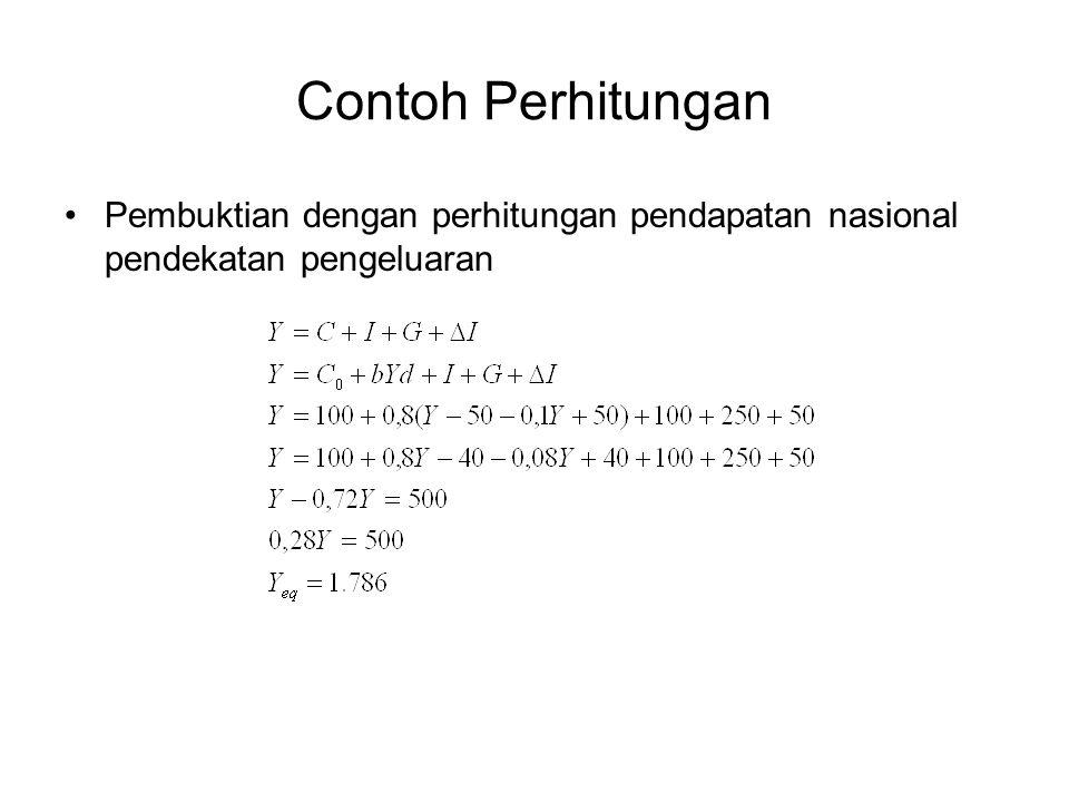 Contoh Perhitungan Pembuktian dengan perhitungan pendapatan nasional pendekatan pengeluaran