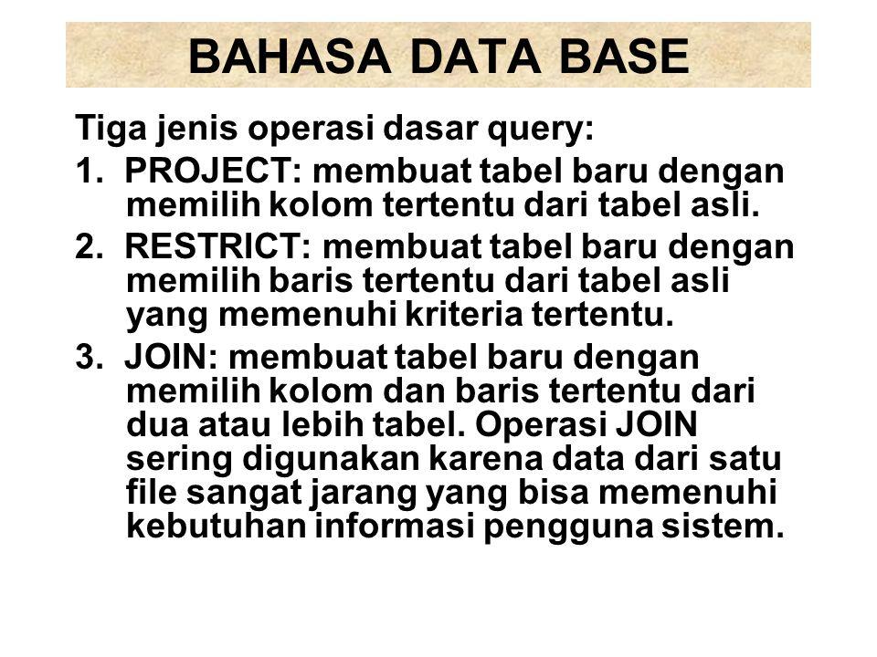 BAHASA DATA BASE Tiga jenis operasi dasar query: 1.PROJECT: membuat tabel baru dengan memilih kolom tertentu dari tabel asli. 2.RESTRICT: membuat tabe
