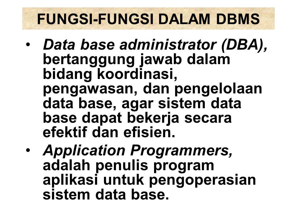 FUNGSI-FUNGSI DALAM DBMS Data base administrator (DBA), bertanggung jawab dalam bidang koordinasi, pengawasan, dan pengelolaan data base, agar sistem