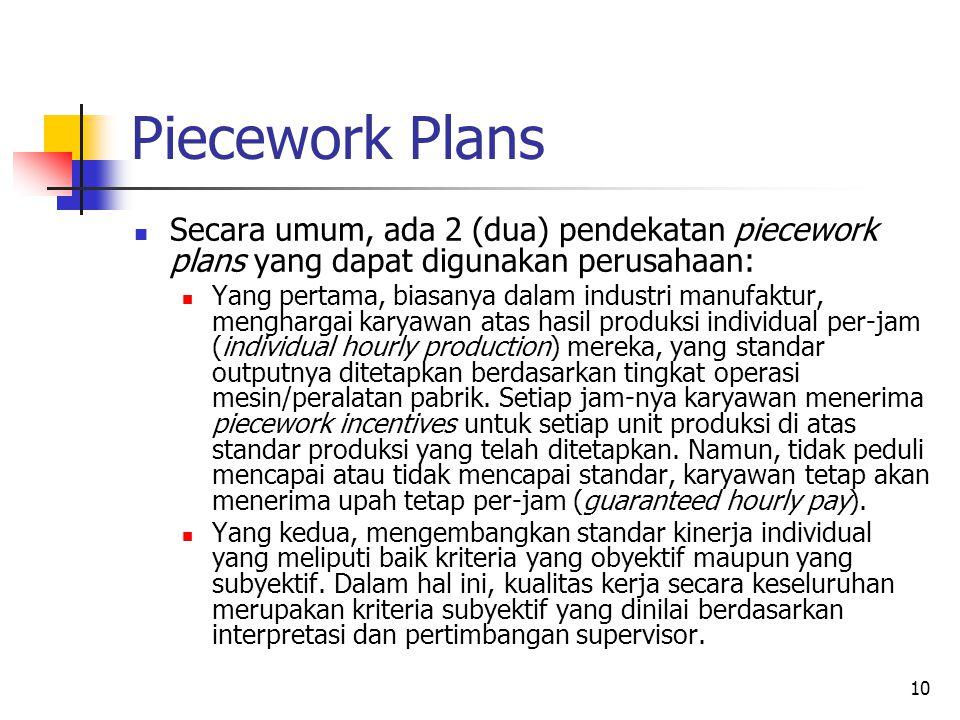 10 Piecework Plans Secara umum, ada 2 (dua) pendekatan piecework plans yang dapat digunakan perusahaan: Yang pertama, biasanya dalam industri manufakt