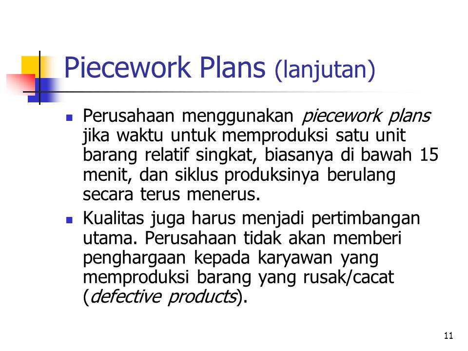 11 Piecework Plans (lanjutan) Perusahaan menggunakan piecework plans jika waktu untuk memproduksi satu unit barang relatif singkat, biasanya di bawah