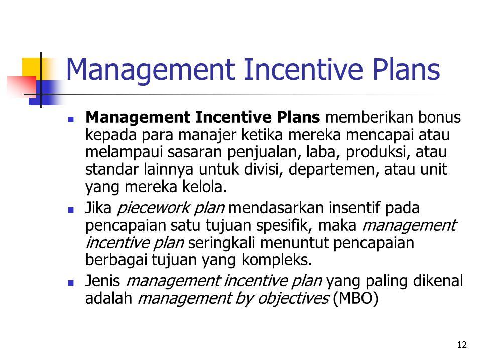 12 Management Incentive Plans Management Incentive Plans memberikan bonus kepada para manajer ketika mereka mencapai atau melampaui sasaran penjualan,