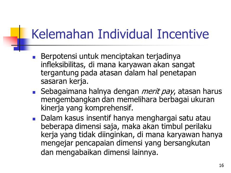 16 Kelemahan Individual Incentive Berpotensi untuk menciptakan terjadinya infleksibilitas, di mana karyawan akan sangat tergantung pada atasan dalam h