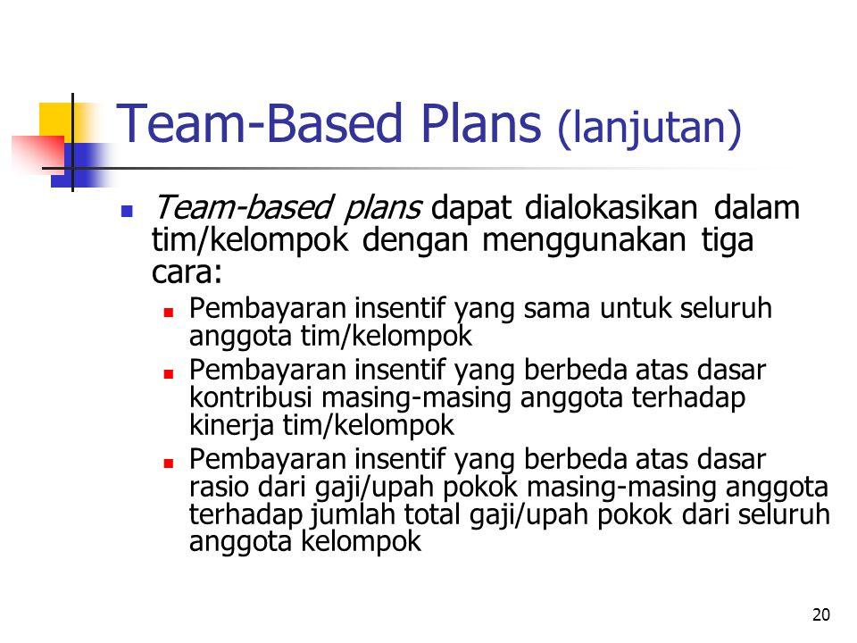 20 Team-Based Plans (lanjutan) Team-based plans dapat dialokasikan dalam tim/kelompok dengan menggunakan tiga cara: Pembayaran insentif yang sama untu