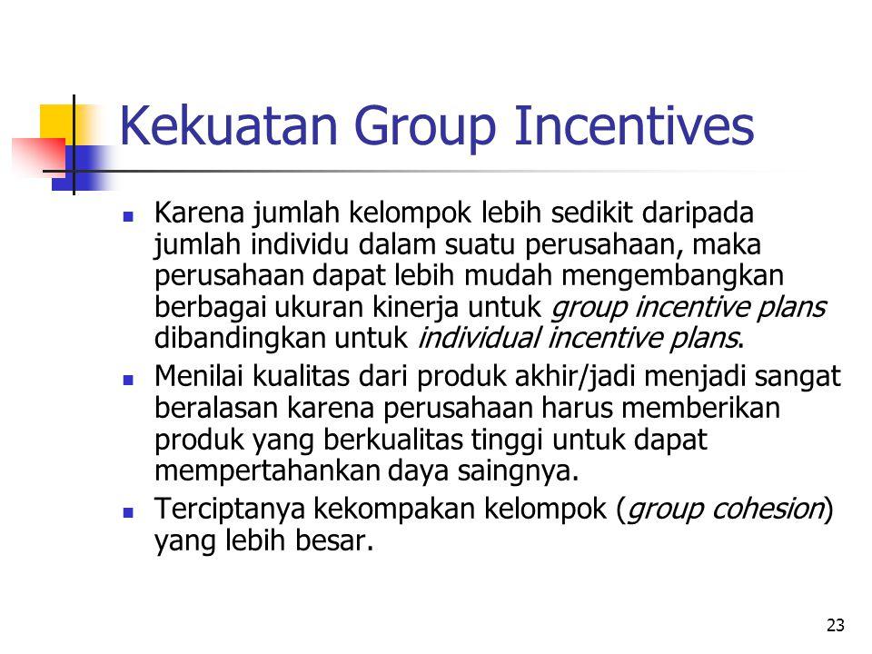 23 Kekuatan Group Incentives Karena jumlah kelompok lebih sedikit daripada jumlah individu dalam suatu perusahaan, maka perusahaan dapat lebih mudah m