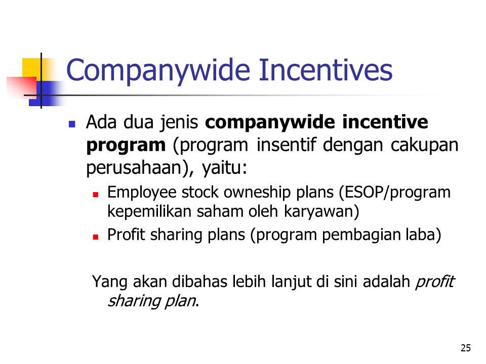 25 Companywide Incentives Ada dua jenis companywide incentive program (program insentif dengan cakupan perusahaan), yaitu: Employee stock owneship pla