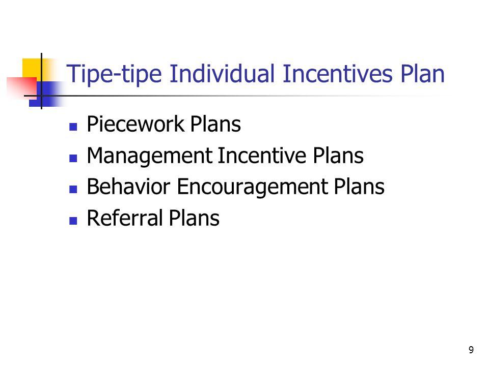 20 Team-Based Plans (lanjutan) Team-based plans dapat dialokasikan dalam tim/kelompok dengan menggunakan tiga cara: Pembayaran insentif yang sama untuk seluruh anggota tim/kelompok Pembayaran insentif yang berbeda atas dasar kontribusi masing-masing anggota terhadap kinerja tim/kelompok Pembayaran insentif yang berbeda atas dasar rasio dari gaji/upah pokok masing-masing anggota terhadap jumlah total gaji/upah pokok dari seluruh anggota kelompok