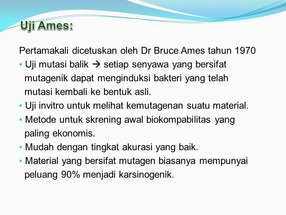 Pertamakali dicetuskan oleh Dr Bruce Ames tahun 1970 Uji mutasi balik  setiap senyawa yang bersifat mutagenik dapat menginduksi bakteri yang telah mutasi kembali ke bentuk asli.