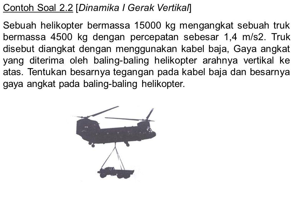 Contoh Soal 2.2 [Dinamika I Gerak Vertikal] Sebuah helikopter bermassa 15000 kg mengangkat sebuah truk bermassa 4500 kg dengan percepatan sebesar 1,4