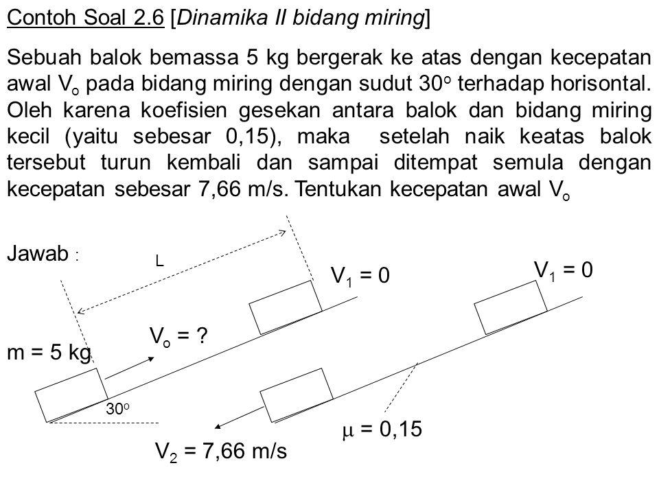 Contoh Soal 2.6 [Dinamika II bidang miring] Sebuah balok bemassa 5 kg bergerak ke atas dengan kecepatan awal V o pada bidang miring dengan sudut 30 o
