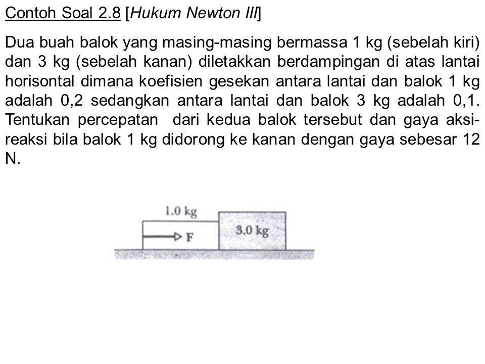 Contoh Soal 2.8 [Hukum Newton III] Dua buah balok yang masing-masing bermassa 1 kg (sebelah kiri) dan 3 kg (sebelah kanan) diletakkan berdampingan di