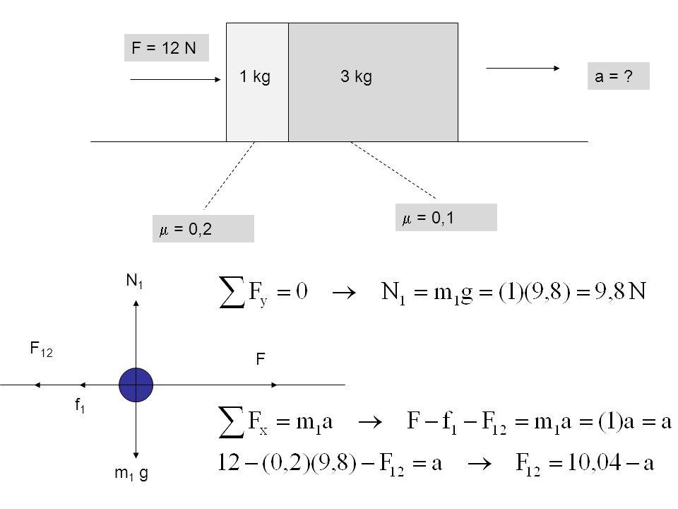  = 0,2  = 0,1 F = 12 N a = ? N1N1 m 1 g F f1f1 F 12 1 kg3 kg