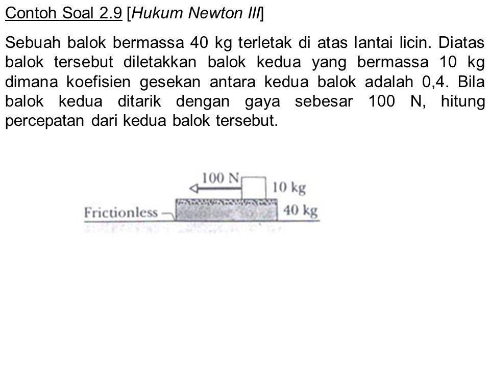 Contoh Soal 2.9 [Hukum Newton III] Sebuah balok bermassa 40 kg terletak di atas lantai licin. Diatas balok tersebut diletakkan balok kedua yang bermas