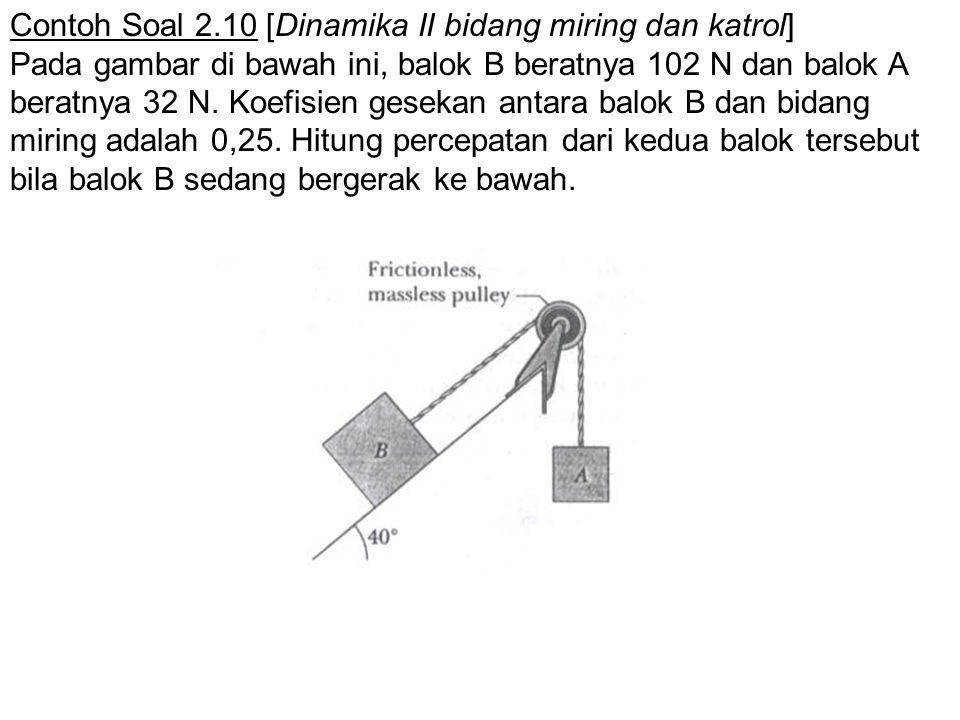 Contoh Soal 2.10 [Dinamika II bidang miring dan katrol] Pada gambar di bawah ini, balok B beratnya 102 N dan balok A beratnya 32 N. Koefisien gesekan