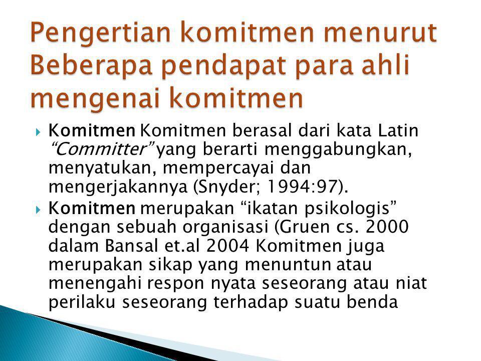 """ Komitmen Komitmen berasal dari kata Latin """"Committer"""" yang berarti menggabungkan, menyatukan, mempercayai dan mengerjakannya (Snyder; 1994:97).  Ko"""