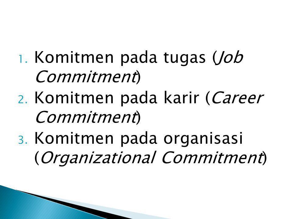 1. Komitmen pada tugas (Job Commitment) 2. Komitmen pada karir (Career Commitment) 3. Komitmen pada organisasi (Organizational Commitment)