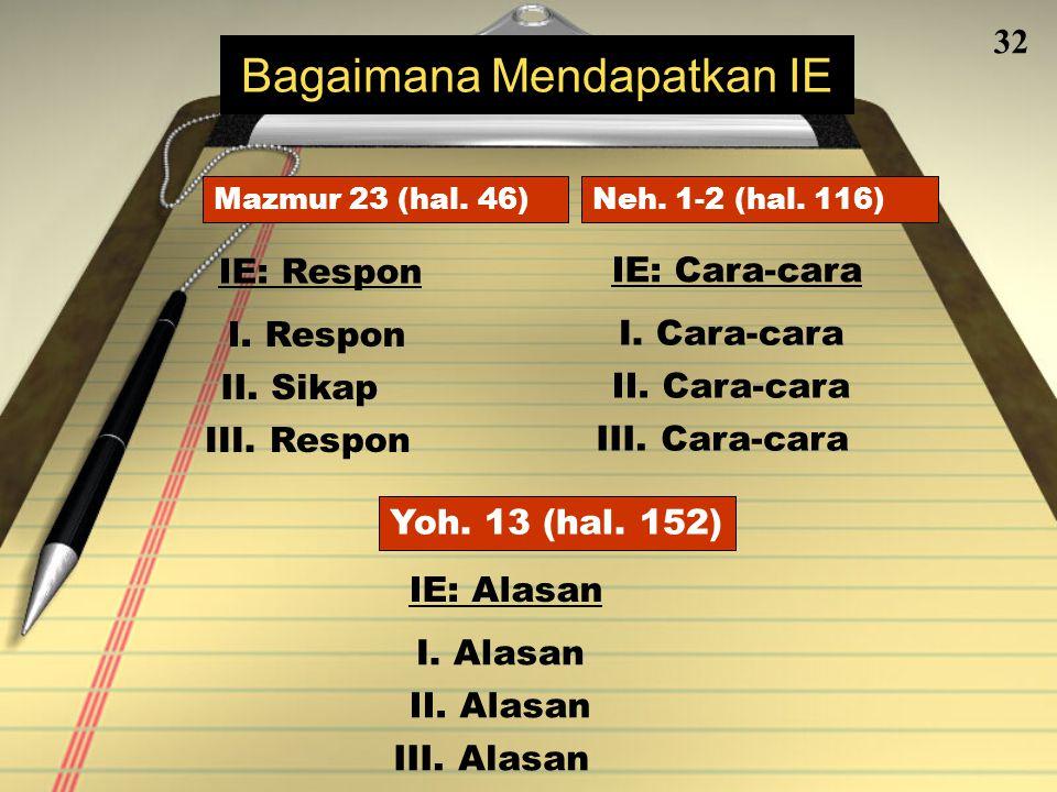 31 Langkah 3 Setelah merancang Poin-poin Utama (PU) Kerangka Eksegetikal (KE) Anda, gabungkan mereka menjadi suatu Dalil Utama Teks (DUT) atau Ide Eksegetikal (IE) Bentuklah Ide Eksegetikal (DUT)
