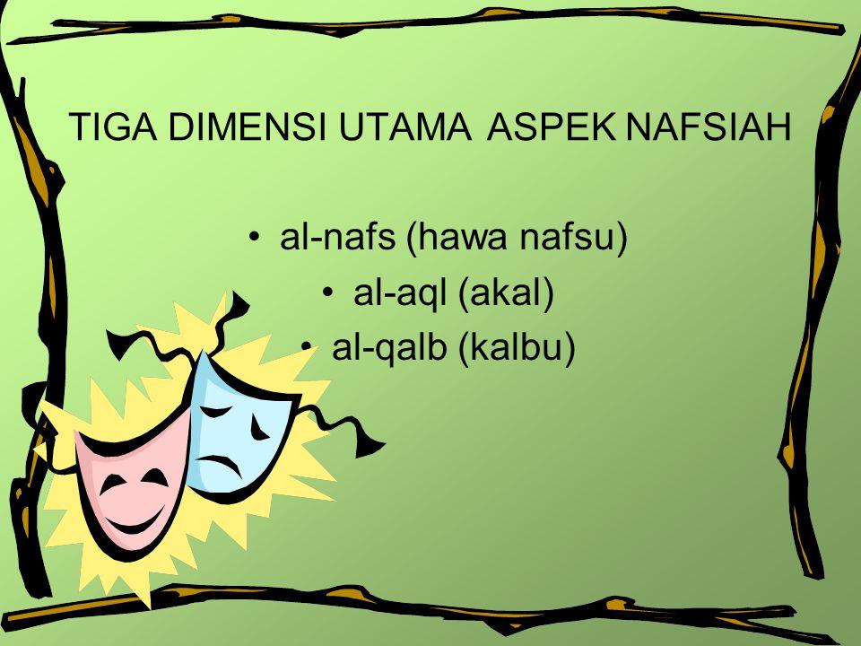 TIGA DIMENSI UTAMA ASPEK NAFSIAH al-nafs (hawa nafsu) al-aql (akal) al-qalb (kalbu)