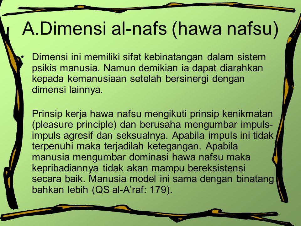 A.Dimensi al-nafs (hawa nafsu) Dimensi ini memiliki sifat kebinatangan dalam sistem psikis manusia. Namun demikian ia dapat diarahkan kepada kemanusia