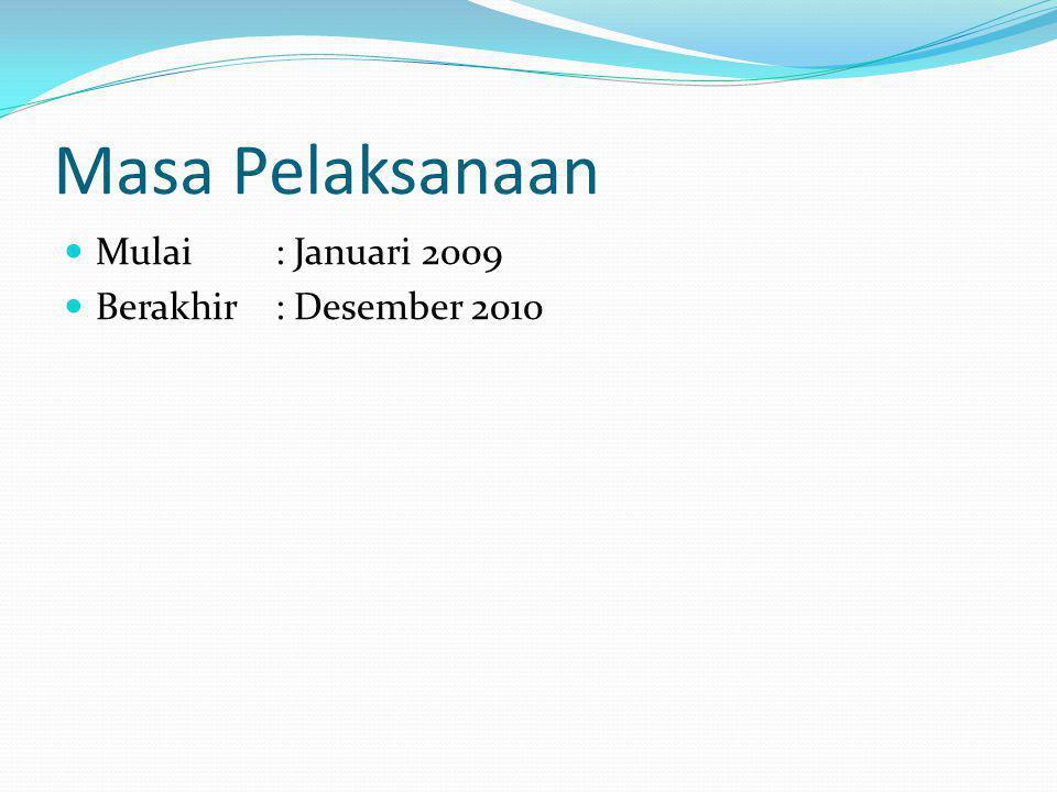 Masa Pelaksanaan Mulai : Januari 2009 Berakhir : Desember 2010