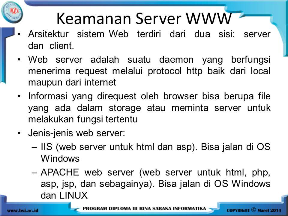 Keamanan Server WWW Arsitektur sistem Web terdiri dari dua sisi: server dan client. Web server adalah suatu daemon yang berfungsi menerima request mel