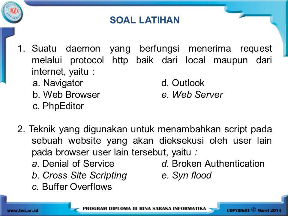 SOAL LATIHAN 1.Suatu daemon yang berfungsi menerima request melalui protocol http baik dari local maupun dari internet, yaitu : a. Navigator d. Outloo