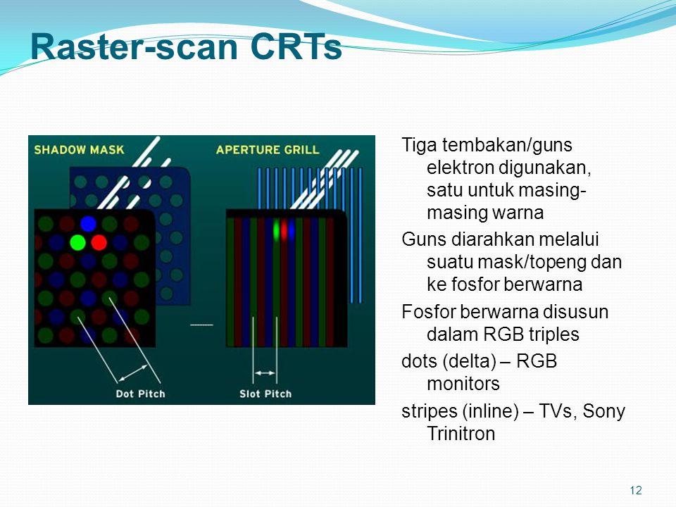 12 Raster-scan CRTs Tiga tembakan/guns elektron digunakan, satu untuk masing- masing warna Guns diarahkan melalui suatu mask/topeng dan ke fosfor berwarna Fosfor berwarna disusun dalam RGB triples dots (delta) – RGB monitors stripes (inline) – TVs, Sony Trinitron