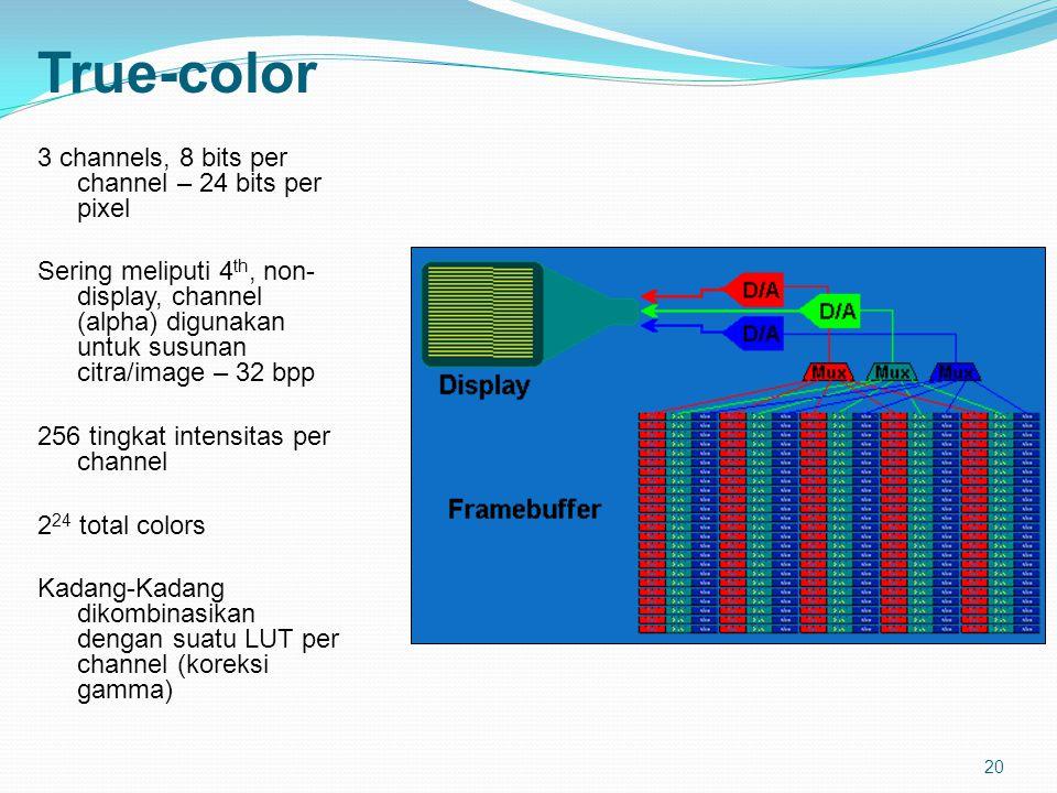 20 True-color 3 channels, 8 bits per channel – 24 bits per pixel Sering meliputi 4 th, non- display, channel (alpha) digunakan untuk susunan citra/image – 32 bpp 256 tingkat intensitas per channel 2 24 total colors Kadang-Kadang dikombinasikan dengan suatu LUT per channel (koreksi gamma)