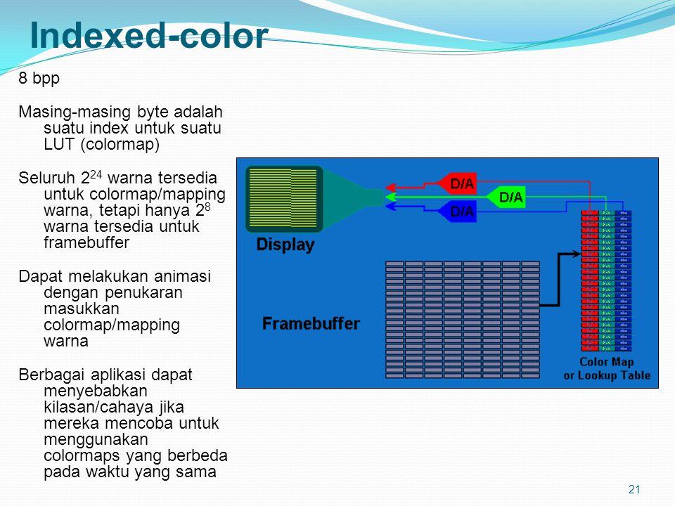 21 Indexed-color 8 bpp Masing-masing byte adalah suatu index untuk suatu LUT (colormap) Seluruh 2 24 warna tersedia untuk colormap/mapping warna, tetapi hanya 2 8 warna tersedia untuk framebuffer Dapat melakukan animasi dengan penukaran masukkan colormap/mapping warna Berbagai aplikasi dapat menyebabkan kilasan/cahaya jika mereka mencoba untuk menggunakan colormaps yang berbeda pada waktu yang sama