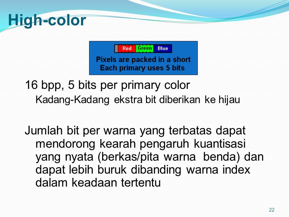 22 High-color 16 bpp, 5 bits per primary color Kadang-Kadang ekstra bit diberikan ke hijau Jumlah bit per warna yang terbatas dapat mendorong kearah pengaruh kuantisasi yang nyata (berkas/pita warna benda) dan dapat lebih buruk dibanding warna index dalam keadaan tertentu
