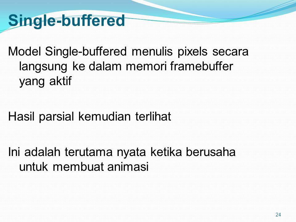 24 Single-buffered Model Single-buffered menulis pixels secara langsung ke dalam memori framebuffer yang aktif Hasil parsial kemudian terlihat Ini adalah terutama nyata ketika berusaha untuk membuat animasi