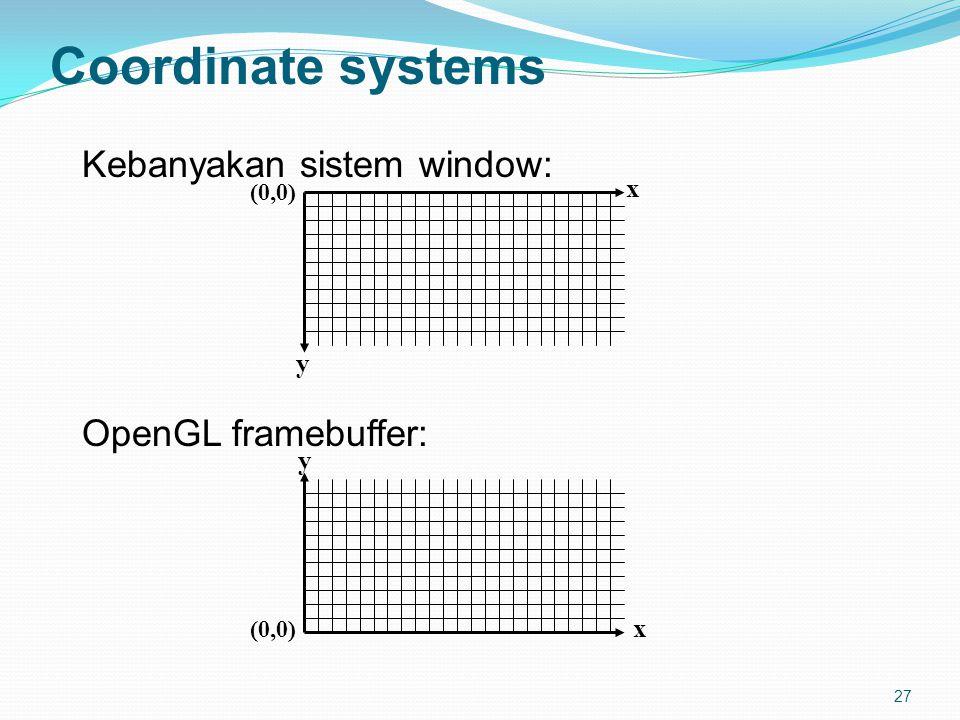 27 Coordinate systems Kebanyakan sistem window: OpenGL framebuffer: x y (0,0) y x