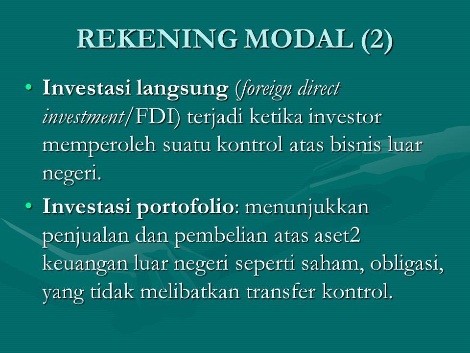 REKENING MODAL (1) Rekening modal mengukur perbedaan antara penjualan aset2 suatu negara kepada luar negeri dengan pembeliannya terhadap aset2 luar negeri.Rekening modal mengukur perbedaan antara penjualan aset2 suatu negara kepada luar negeri dengan pembeliannya terhadap aset2 luar negeri.