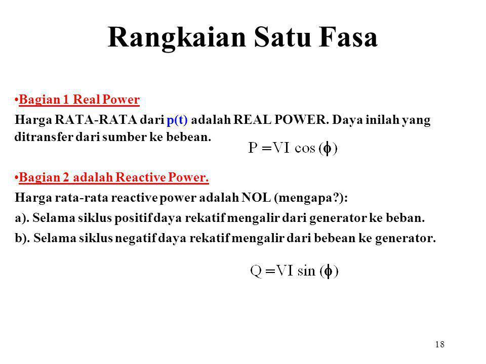 18 Bagian 1 Real Power Harga RATA-RATA dari p(t) adalah REAL POWER. Daya inilah yang ditransfer dari sumber ke bebean. Bagian 2 adalah Reactive Power.