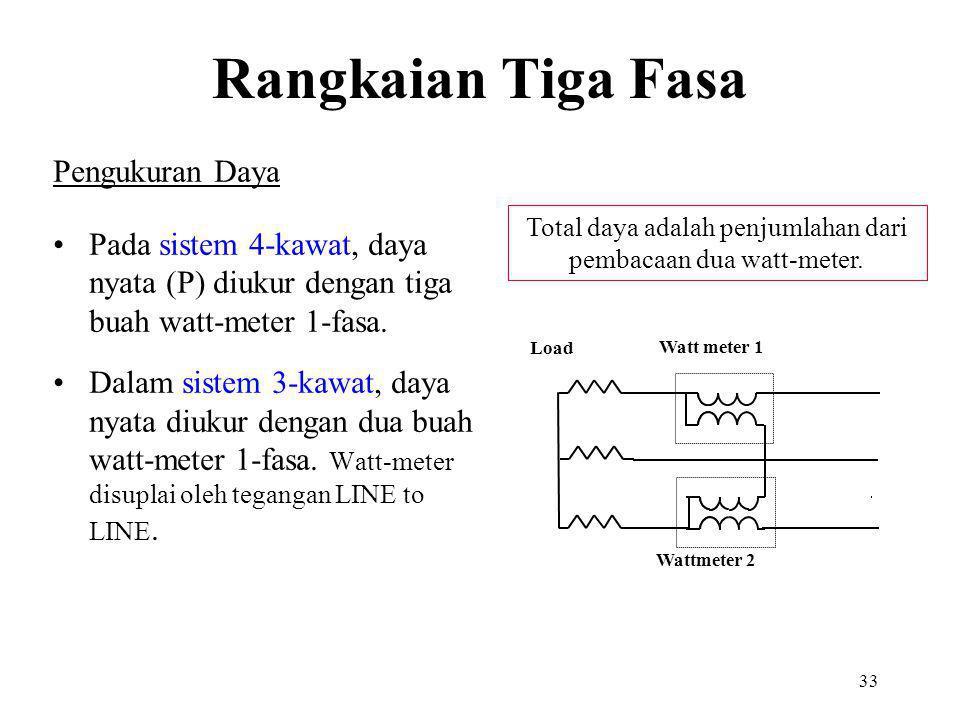 33 Pengukuran Daya Pada sistem 4-kawat, daya nyata (P) diukur dengan tiga buah watt-meter 1-fasa. Dalam sistem 3-kawat, daya nyata diukur dengan dua b