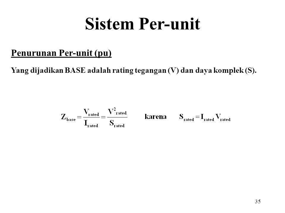 35 Penurunan Per-unit (pu) Yang dijadikan BASE adalah rating tegangan (V) dan daya komplek (S). Sistem Per-unit