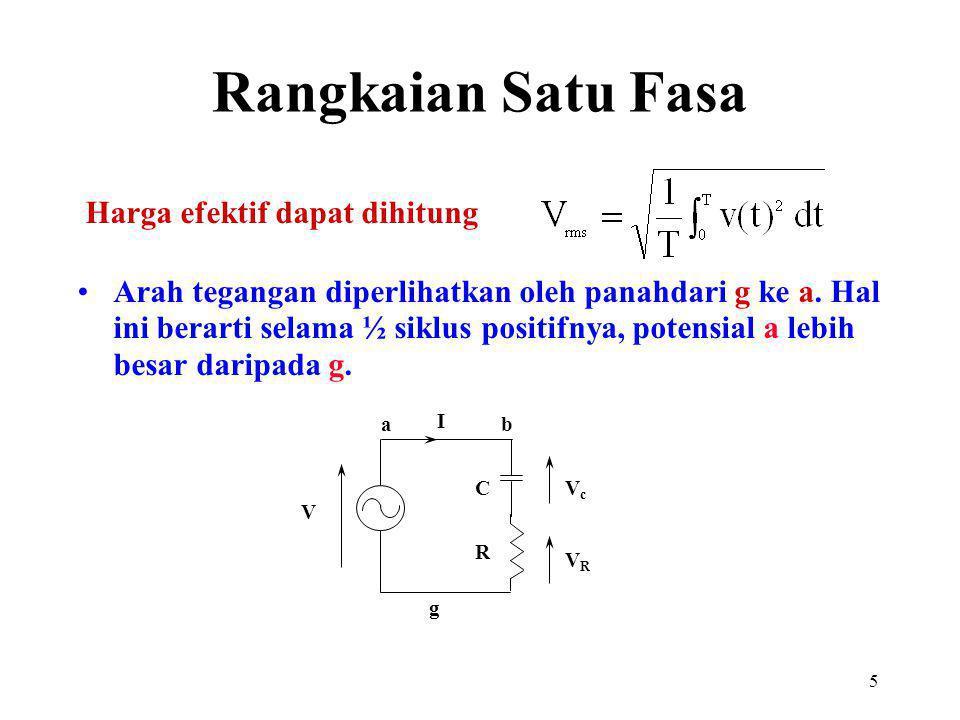 5 Harga efektif dapat dihitung Arah tegangan diperlihatkan oleh panahdari g ke a. Hal ini berarti selama ½ siklus positifnya, potensial a lebih besar