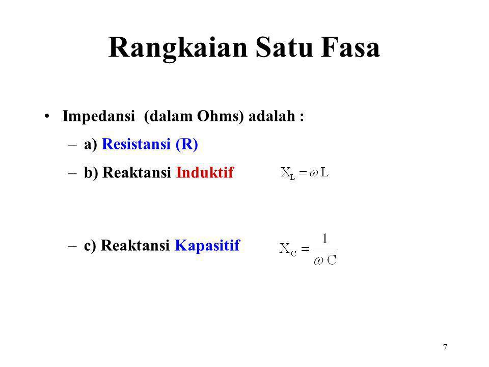 7 Impedansi (dalam Ohms) adalah : –a) Resistansi (R) –b) Reaktansi Induktif –c) Reaktansi Kapasitif Rangkaian Satu Fasa