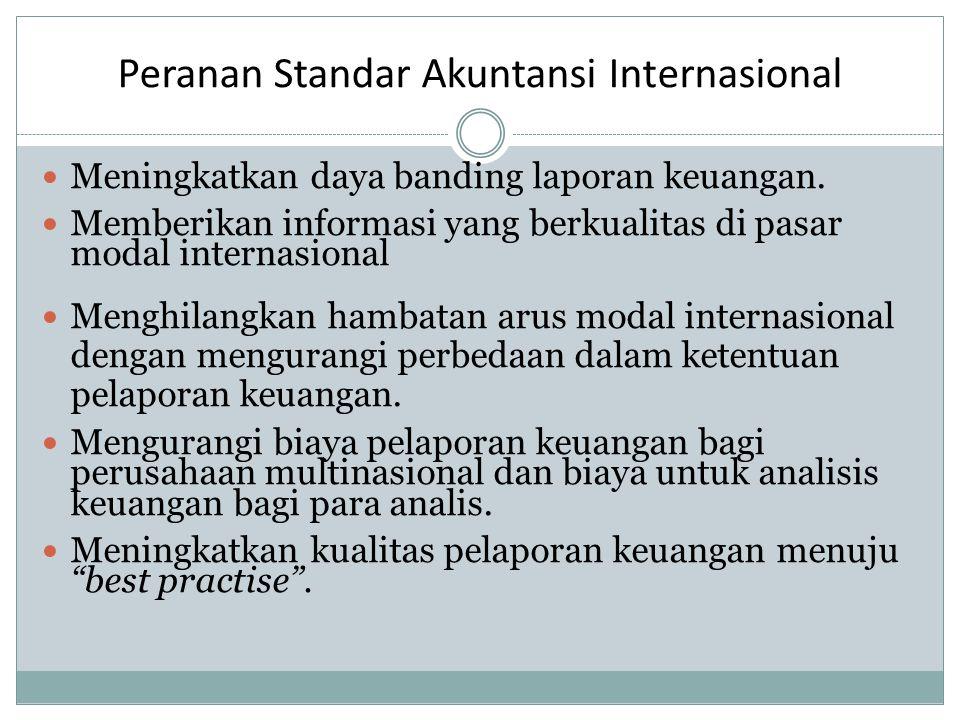 Peranan Standar Akuntansi Internasional Meningkatkan daya banding laporan keuangan.