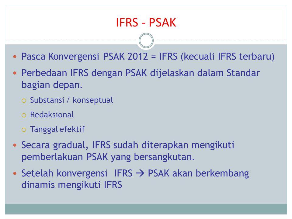 IFRS - PSAK Pasca Konvergensi PSAK 2012 = IFRS (kecuali IFRS terbaru) Perbedaan IFRS dengan PSAK dijelaskan dalam Standar bagian depan.