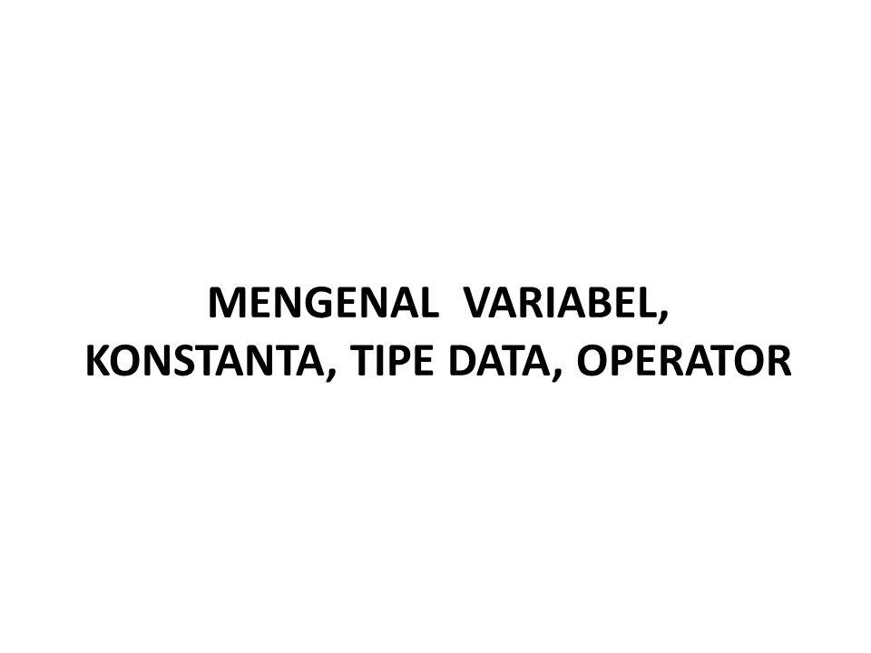 MENGENAL VARIABEL, KONSTANTA, TIPE DATA, OPERATOR
