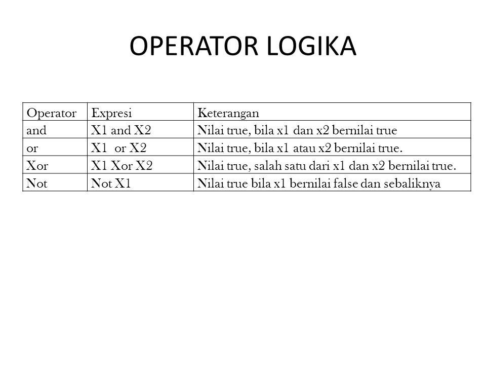 OPERATOR LOGIKA OperatorExpresiKeterangan andX1 and X2Nilai true, bila x1 dan x2 bernilai true orX1 or X2Nilai true, bila x1 atau x2 bernilai true. Xo