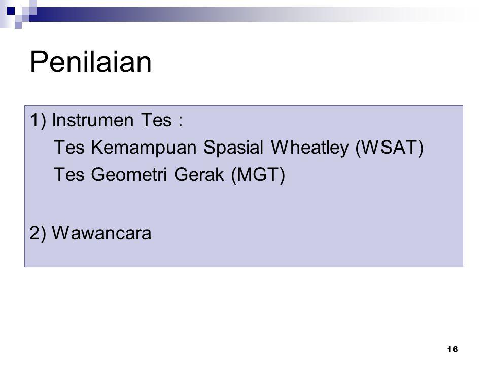 16 Penilaian 1) Instrumen Tes : Tes Kemampuan Spasial Wheatley (WSAT) Tes Geometri Gerak (MGT) 2) Wawancara